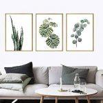 Moderne Aquarelle Feuille tropicale affiches Toile Plante verte florale Affiches d'art Mur de salon photo Décoration Intérieur Sans cadre de la marque Yunhigh image 4 produit