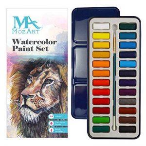 MozArt Supplies Set de peinture aquarelle – 24 couleurs lumineuses – léger et transportable – parfait pour les amateurs et les artistes professionnels – pinceau inclus de la marque MozArt Supplies image 0 produit