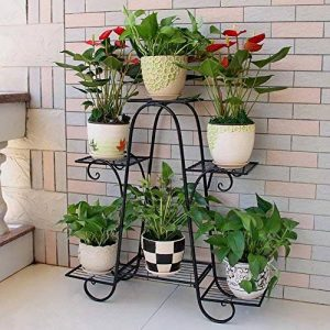 Multi-couche de fer étage fleur Stand de fleurs fleur intérieure balcon fleur étagère salon peu encombrant pot de fleur (Couleur : Noir, taille : L) de la marque Etagère de Fleur image 0 produit