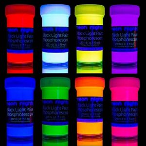 neon nights 8 x Peinture Phosphorescente Autoluminescente Couleur Fluo Luisant Dans Le Noir de la marque neon nights image 0 produit