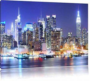 New York City skyline pont la nuit, peinture sur toile, format XXL support en bois, Leinwand Format:100x70 cm de la marque InstyleArt image 0 produit