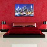 New York City skyline pont la nuit, peinture sur toile, format XXL support en bois, Leinwand Format:100x70 cm de la marque InstyleArt image 4 produit