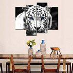 Noir et blanc 4Panneau Art Mural Peinture Tigre bleu étoiles x 30,5cm de la Photo Photos Animaux Huile pour Home Decor imprimé moderne Décoration pour cuisine de la marque So Crazy Art image 2 produit