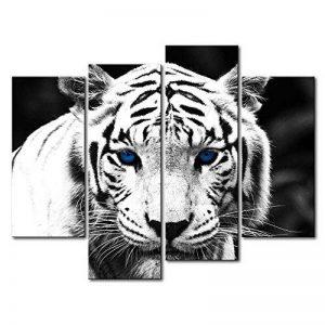 Noir et blanc 4Panneau Art Mural Peinture Tigre bleu étoiles x 30,5cm de la Photo Photos Animaux Huile pour Home Decor imprimé moderne Décoration pour cuisine de la marque So Crazy Art image 0 produit