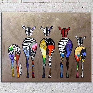 OMGO Dessin D'ornement Tableau Decoration Mural Peinture à l'huile Impression Sur Toile Art Moderne Sans Encadrement Zèbres Multicolore 70*50cm de la marque OMGO image 0 produit