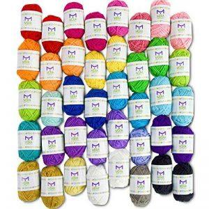 Pack essentiel de pelotes de laine bonbon - 40 pelotes de laine en acrylique – Assortiment de couleurs – Idéal pour tout projet de tricot et de crochet de la marque Mira Handcrafts image 0 produit