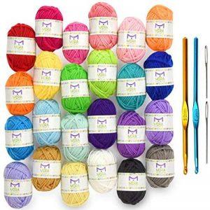 Pack premium de pelotes de laine mini - 24x10g pelotes de laine en acrylique – 20 mètres de longueur par pelote – Idéales pour tous les mini projets de crochet et de tricot de la marque Mira Handcrafts image 0 produit