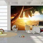 Papier peint de coucher du soleil au bord de la mer peinture murale de décoration de plage Caribéenne soleil de plage nature d'île pour les voyages de vacances | murale photo GREAT ART (336 x 238 cm) de la marque GREAT ART image 6 produit