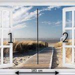 PAPIER PEINT PHOTO ,,Beach Window 2T1' 127cm x 183cm mer dune colle inclu MURAL Tableaux muraux déco XXL de la marque livingdecoration image 2 produit