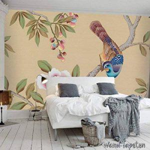 Papier peint photo mural papier peint photo mural oiseaux et fleurs pivoines artificielles KN-2997, L 300cm(B) x 210cm(H) 6-Bahne de la marque Wandtapete KN-COLLECTION image 0 produit
