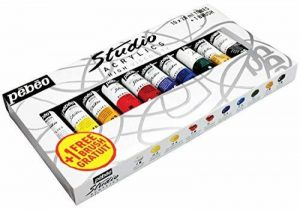 Pébéo 833311 Set Studio + Acrylique Lot de de 10 Tubes de 20 ml + Brosse Couleurs Assorties de la marque Pébéo image 0 produit