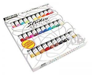 Pébéo 833431 Set Studio + Acrylique Assortiment de 30 Tubes de 20 ml + Brosse de la marque Pébéo image 0 produit