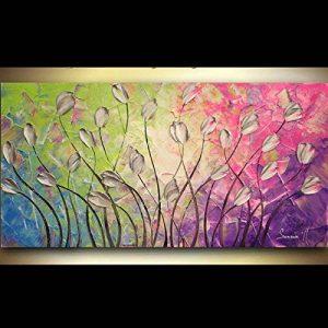 peinte à la main Paysage abstrait Palette Tulipes sur vert bleu violet rose murale de peinture à l'huile sur toile Salon Art, Toile, bleu/vert, 24x48inch(60x120cm) de la marque Orlco Art image 0 produit
