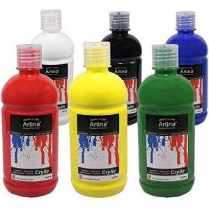 Peinture acrylique de qualité - lot de 6 flacons de 500ml - Idéal pour les loisirs et les peintres professionnels de la marque Artina image 0 produit