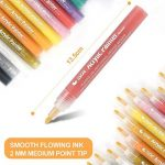 Peinture acrylique marqueurs – marqueurs à pointe medium point pour écouter de la musique, motif Mug de peinture, céramique, verre, métal, bois, tissu, Lot de 12 couleurs vetement cramique de la marque Yanoza image 2 produit