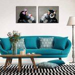 Peinture à l'huile sur toile Fokenzary, peinte à la main, gorilles écoutant de la musique pop, couple d'amoureux, décoration murale encadrée prête à suspendre, Toile, 20x24inx2pcs de la marque Fokenzary image 2 produit