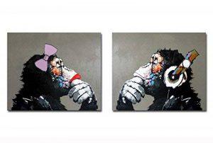 Peinture à l'huile sur toile Fokenzary, peinte à la main, gorilles écoutant de la musique pop, couple d'amoureux, décoration murale encadrée prête à suspendre, Toile, 20x24inx2pcs de la marque Fokenzary image 0 produit