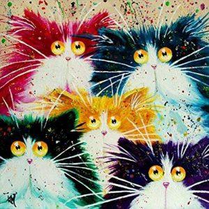 Peinture par numéro Kit, Bricolage peinture à l'huile dessin abstrait chat tête Toile avec des brosses décorations décorations cadeaux - 16 x 20 pouces sans cadre de la marque Dreamsy image 0 produit