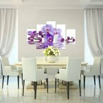 Photo Fleurs d'orchidée Décoration Murale 150 x 100 cm Toison - Toile Taille XXL Salon Appartement Décoration Photos d'art Blanc 5 Parties - 100% MADE IN GERMANY - prêt à accrocher 200653b de la marque Images et Papier peint Runa image 4 produit