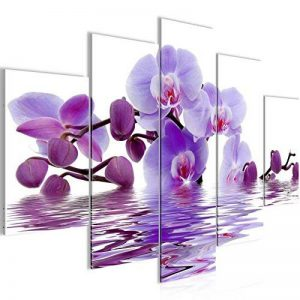 Photo Fleurs d'orchidée Décoration Murale 150 x 100 cm Toison - Toile Taille XXL Salon Appartement Décoration Photos d'art Blanc 5 Parties - 100% MADE IN GERMANY - prêt à accrocher 200653b de la marque Images et Papier peint Runa image 0 produit