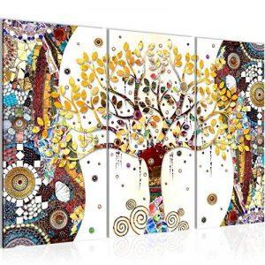 Photo Gustav Klimt - Arbre de vie Décoration Murale 120 x 80 cm Toison - Toile Taille XXL Salon Appartement Décoration Photos d'art Marron 3 Parties - 100% MADE IN GERMANY - prêt à accrocher 004631a de la marque Images et Papier peint Runa image 0 produit