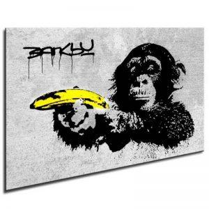 Photo leinwand24image sur toile Banksy Monkey Banana/mural XXL Photos et Wallfillers Canvas images de toile montée sur cadre en bois–Dimensions au choix. pas poster ou Affiche/Moins cher que Peinture à/Images de toile, châssis 561N de photos, Bild - S image 0 produit