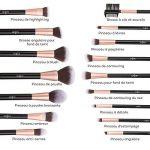 Pinceaux Maquillage Anjou Kit de 16pcs, Doux et Sans Cruaute, Poils Synthetiques, Design Or Rose, Pochette Elegante Cuir PU Incluse - Or Rose de la marque Anjou image 2 produit