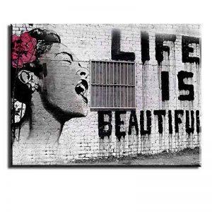 PIY Banksy Graffiti Painting Art Décor Impression sur toile Image Peinture Tableaux de la Mur Imperméable prete à suspender Décoration moderne pour la salle chamber, La vie est belle 30x40cmx2.5cm de la marque Piy Painting image 0 produit