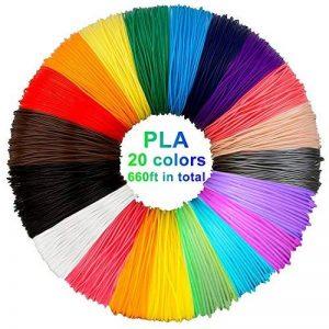 PLA de filament de stylo 3D, 20 couleurs, 10M chacun - filament de PLA de stylo 3D 1.75mm, couleurs de stylo 3D réglées pour PACKGOUT, MYNT3D, DeWang, stylo 3D et stylo d'impression 3D de la marque LAUFEN image 0 produit