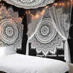 Raajsee Tentures Murales Indiennes Lotus Fleur/ Noir et Blanc Tapisserie Mandala Hippie/ Psychedelique Bohemian Rideaux Orientale Decorations/ Couvre lit Twin 140x220cms de la marque raajsee image 4 produit
