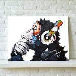 RAIN QUEEN 75X50cm Impression Sur Toile Grand Format Le Gorille Aime Musique 1 Partie Décoration Chambre Wall Art (Pret a Accrocher) de la marque RAIN QUEEN image 2 produit