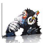 RAIN QUEEN 75X50cm Impression Sur Toile Grand Format Le Gorille Aime Musique 1 Partie Décoration Chambre Wall Art (Pret a Accrocher) de la marque RAIN QUEEN image 0 produit