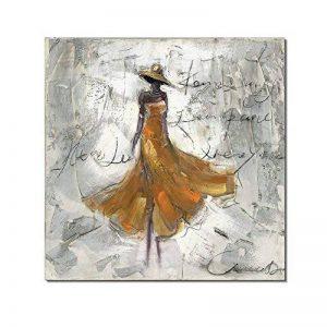 Redland Art Peintures à l'huile sur toile Dansant Dame AOuvrages d'art Encadré étiré prêt à s'accrocher pour décoration murale à la maison - Jaune 12 x 12 pouce de la marque Redland Art image 0 produit