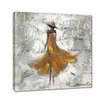 Redland Art Peintures à l'huile sur toile Dansant Dame AOuvrages d'art Encadré étiré prêt à s'accrocher pour décoration murale à la maison - Jaune 12 x 12 pouce de la marque Redland Art image 1 produit