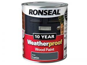 Ronseal wpgs750750ml 10Année résistant aux intempéries Peinture bois extérieur finition satinée–Gris de la marque Ronseal image 0 produit
