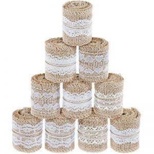 Ruban en jute Faburo 10 rouleaux Tissu Ruban Bordure en dentelle Toile de lin Ruban en Jute DIY avec Dentelle de la marque Faburo image 0 produit