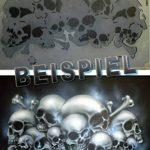 """SCHNEIDMEISTER Pochoirs pour aérographe motif Tête de mort : Field of Skulls VOL. 01(""""THE HATEFUL 12""""), Single/Quick Step EZ Skullmaker Artshield®, Größe L ca. A4 de la marque SCHNEIDMEISTER image 3 produit"""
