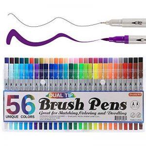 Shuttle Art 56 stylo gel à deux pointes une pointe de pinceau et une autre pointe fine pour le coloriage pour adultes de la marque Shuttle Art image 0 produit