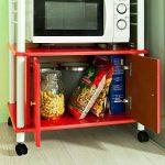 SoBuy® FRG12-R Meuble rangement cuisine roulant en bois, Chariot de cuisine de service micro-ondes de la marque SoBuy image 4 produit