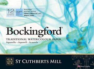 St. Cuthberts Bockingford Bloc de Papier à aquarelle : encollées pour Thermorelieur 9 x 12–300 g/m² 300 g/m²)-sans revêtement - 12 feuilles de la marque Bockingford image 0 produit