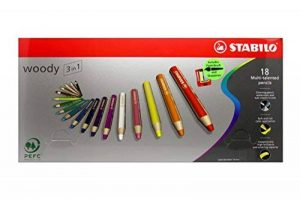 Stabilo Uk2/880–18Woody 3en 1Multi Purpose crayon–Couleurs assorties (Lot de 18) de la marque STABILO image 0 produit