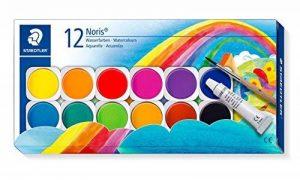 Staedtler Noris Club 888, Boîte peinture de 12 pastilles de couleurs lumineuses assorties + 1 tube gouache blanche + 1 pinceau, 888 NC12 de la marque Staedtler image 0 produit