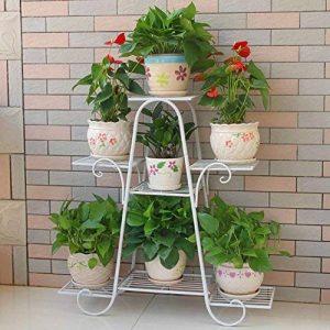Stand de fleur de fer d'intérieur Balcon de Multi-couche de fleur Étagère-support de fleur de plancher Rack de pot de fleur d'économie de l'espace (Couleur : Blanc) de la marque Etagère de Fleur image 0 produit