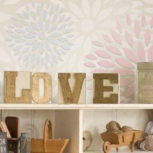 Stencil mural floral 003 fleurs. Mesures: mesure extérieure du Stencil: 30 x 30 (cm) mesure du design: 28 x 28 (cm) de la marque TODO-STENCIL image 0 produit