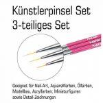 Striper Pinceau Set 3pièces [Rose] pour nail art one stroke acrylique couleurs de la marque NAILFUN ® image 1 produit