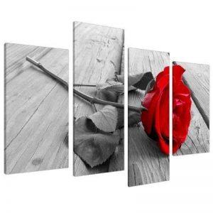 Tableau sur Toile - Fleur Rose - Rouge, Noir et Blanc - 4 Parties - Wallfillers Canvas 4005 de la marque Wallfillers Canvas image 0 produit