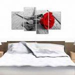 Tableau sur Toile - Fleur Rose - Rouge, Noir et Blanc - 4 Parties - Wallfillers Canvas 4005 de la marque Wallfillers Canvas image 2 produit