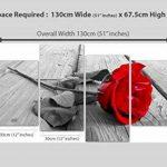 Tableau sur Toile - Fleur Rose - Rouge, Noir et Blanc - 4 Parties - Wallfillers Canvas 4005 de la marque Wallfillers Canvas image 3 produit