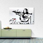 """Tableaux-XXL® Impression sur toile """"Banksy No.1"""" 120x80cm - 6 tailles disponibles. Prêt à accrocher. Tendu sur châssis en bois. Des motifs imprimés originaux pour chambre à coucher, chambre d'enfant de la marque Tableaux-XXL image 2 produit"""
