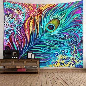 Tapisserie De Plume De Paon Aquarelle Effet Peinture Art Image Imprimer Polyester Mur Tapisserie Paon Décoration Mode Modèle Par RLF.LF de la marque RLF LF image 0 produit